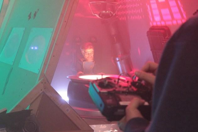 Commander Drew McAllister on set in between takes.