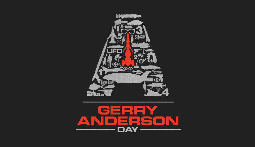 Gerry Anderson Day logo featuring silhouettes of famous Gerry Anderson vehicles and icons in the shape of the letter A