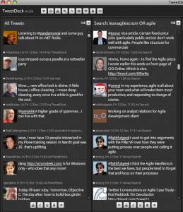 Following agile talk on Twitter using Tweetdeck (click image for larger view)