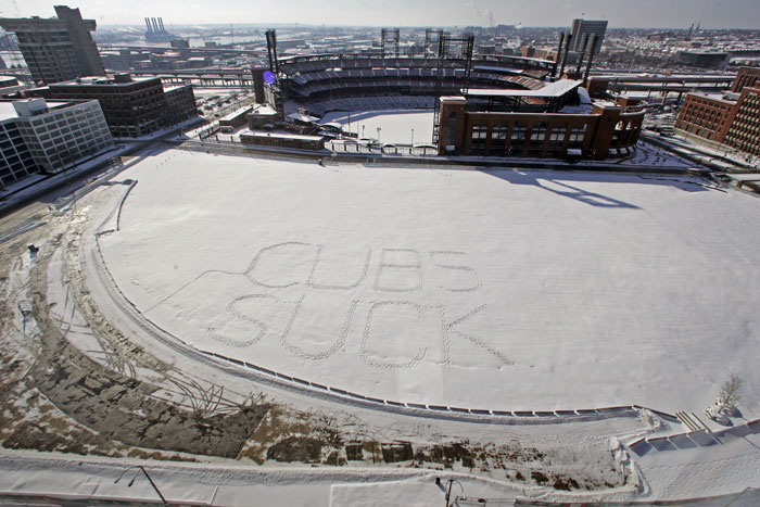 "Wednesday January 28, 2009 After an overnight snowfall in St. Louis, someone stomped out the words ""Cubs Suck"" in Ballpark Village, as seen from a view from the 19th floor of the Hilton St. Louis at the Ball Park. ©2009 Max Gersh 