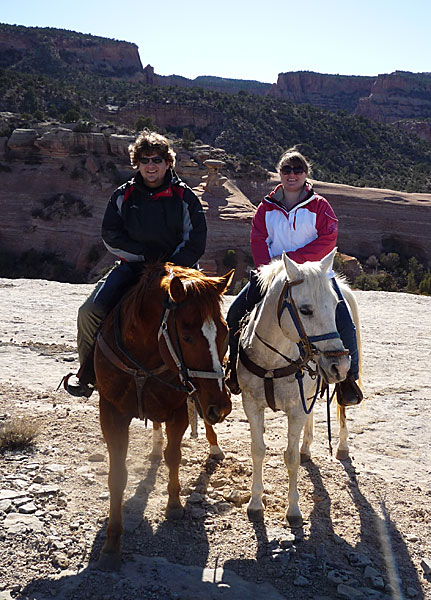 Panasonic Lumix DMC-LZ8 — ISO 100 @ f/4.5 and 1/400 sec — Katie and I on our horses at the top of Devil's Canyon in the Colorado National Mounment.