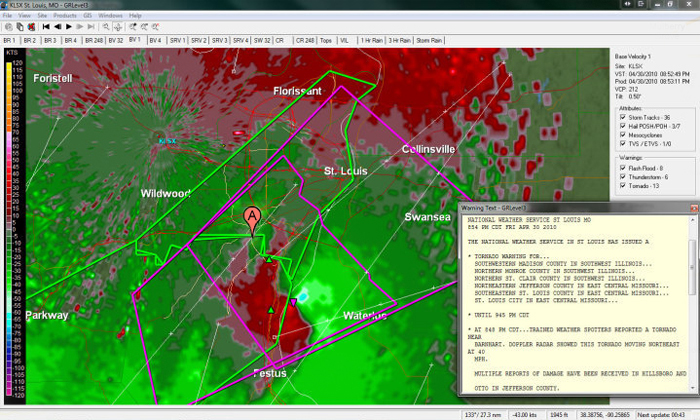 This radar image shows the relative storm velocity of a storm that produced a confirmed tornado in the St. Louis area.