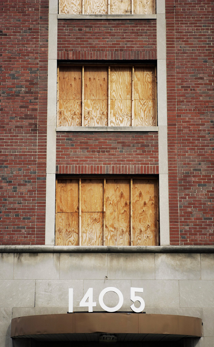 The Ford apartments building remains boarded up at the intersection of Pine Street and 14th Street. Max Gersh | Post-Dispatch ©2008
