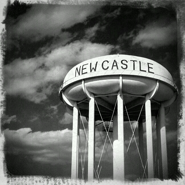 A water tower in New Castle, Indiana. ©2010
