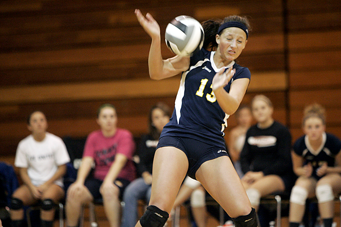 Shenandoah's Andi Hise reacts after a spike hit her in the arm during a regional match against Muncie Burris. (C-T photo Max Gersh) ©2010