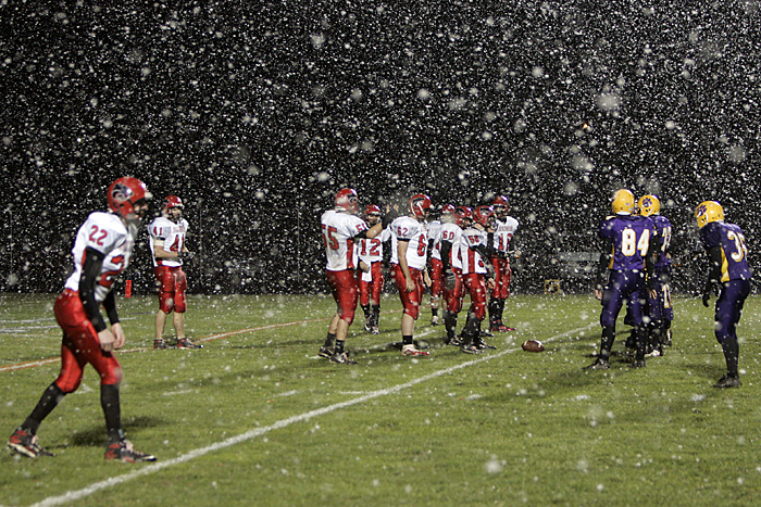 Knightstown (white) and Hagerstown line up at the line of scrimmage Friday night. (C-T photo Max Gersh) ©2010