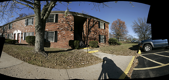 A quick test panorama of my apartment building with the dead space left in. This panorama is composed of 14 images. ©2010