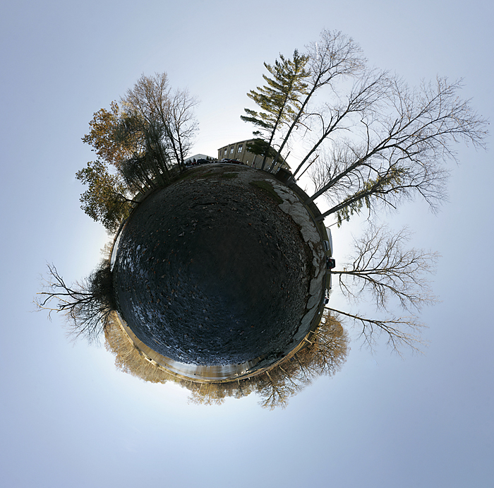 A stereographic projection (wee planet) at Memorial Park. Shot on my DIY nodal slide and consists of 55 separate images. ©2010