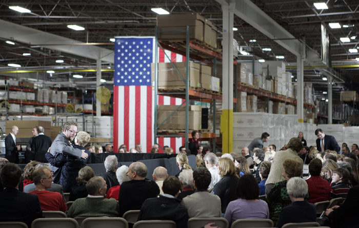 MAX GERSH | ROCKOFRD REGISTER STAR People gather at Orion Energy Systems Wednesday, Jan. 26, 2010, to see President Barack Obama speak at the Manitowoc, Wis. facility. ©2011