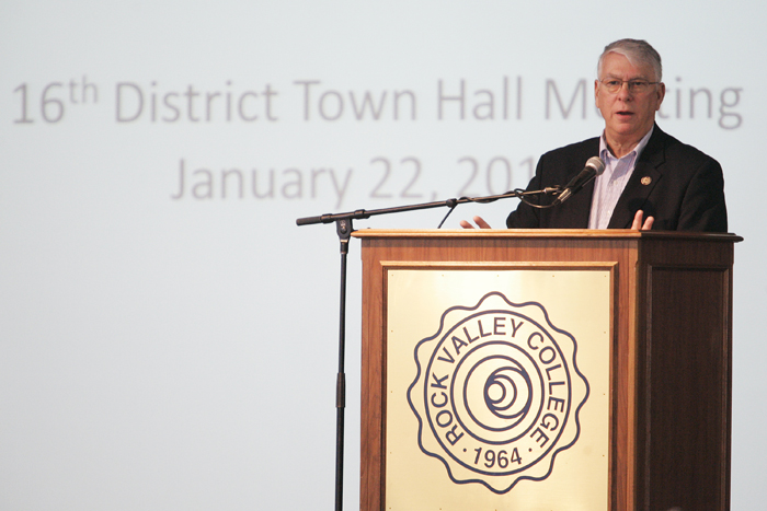 MAX GERSH | ROCKFORD REGISTER STAR Rep. Don Manzullo speaks Saturday, Jan. 22, 2011, at a town hall meeting at the Rock Valley College Stenstrom Center in Rockford. ©2011