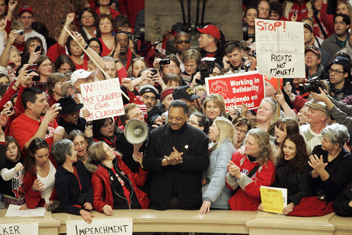 MAX GERSH | ROCKFORD REGISTER STAR  Rev. Jesse Jackson speaks to a crowd of people Friday, Feb. 18, 2011, at the state Capitol in Madison, Wis. ©2011