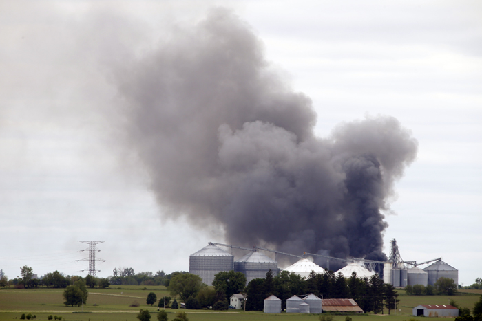 Heavy black smoke billows out of the Nova-Kem chemical plant Sunday, June 2, 2013, in Seward as seen from Comly Road. MAX GERSH/ROCKFORD REGISTER STAR ©2013