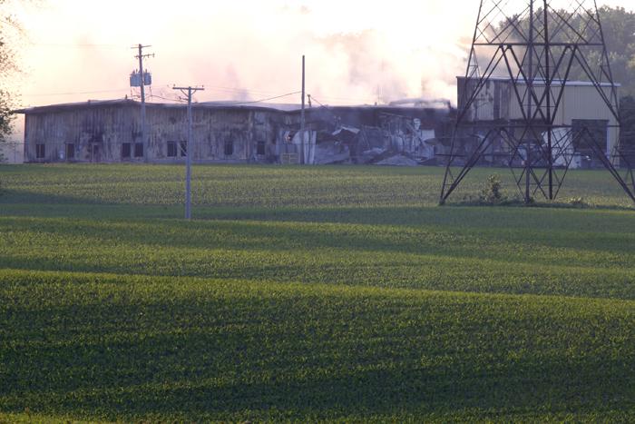 Smoke rises from the heavily damaged Nova-Kem chemical plant Sunday, June 2, 2013, in Seward. MAX GERSH/ROCKFORD REGISTER STAR ©2013