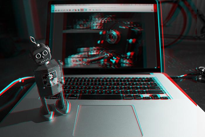 Robot on a laptop. ©2014 Max Gersh