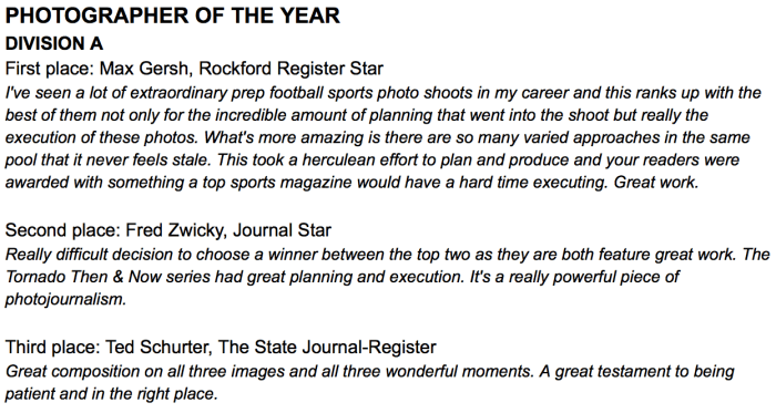 I am honored to be named the Division A GateHouse Photographer of the Year.