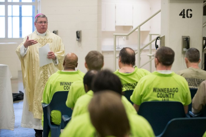 Bishop David J. Malloy delivers a sermon to inmates Sunday, March 27, 2016, during Easter Mass at the Winnebago County Jail in Rockford. MAX GERSH/STAFF PHOTOGRAPHER/RRSTAR.COM ©2016