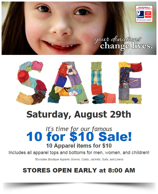 10 for 10 sale august 2015