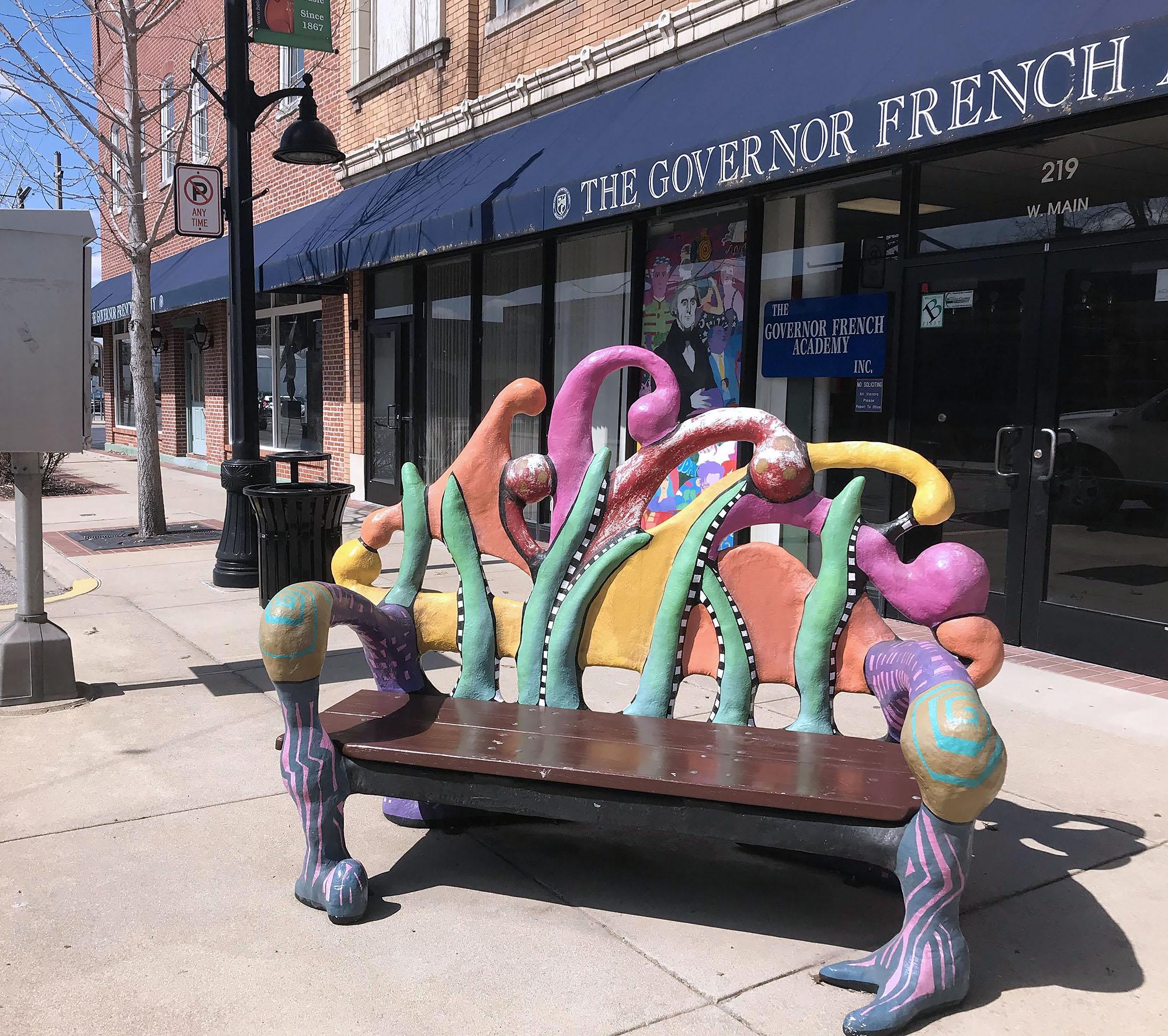 Sidewalk Bench Sculpture