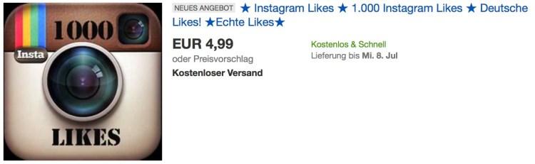 Instagram Fake accounts bei eBay