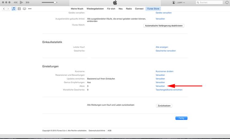"""Schritt 4: Auf der Accountsübersichtsseite, ganz runter scrollen und bei Abos auf """"Verwalten"""" klicken."""