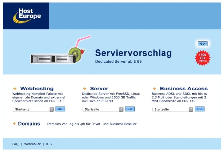HostEurope Webseite im Jahr 2004 / by Internet WayBack Machine