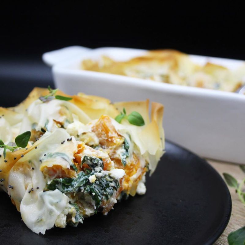 Roasted Butternut spinach ricotta feta pie