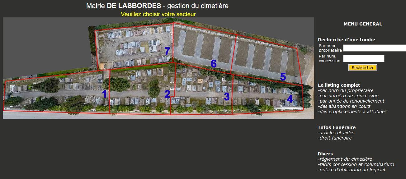 gestion informatique du cimetière 330 emplacements