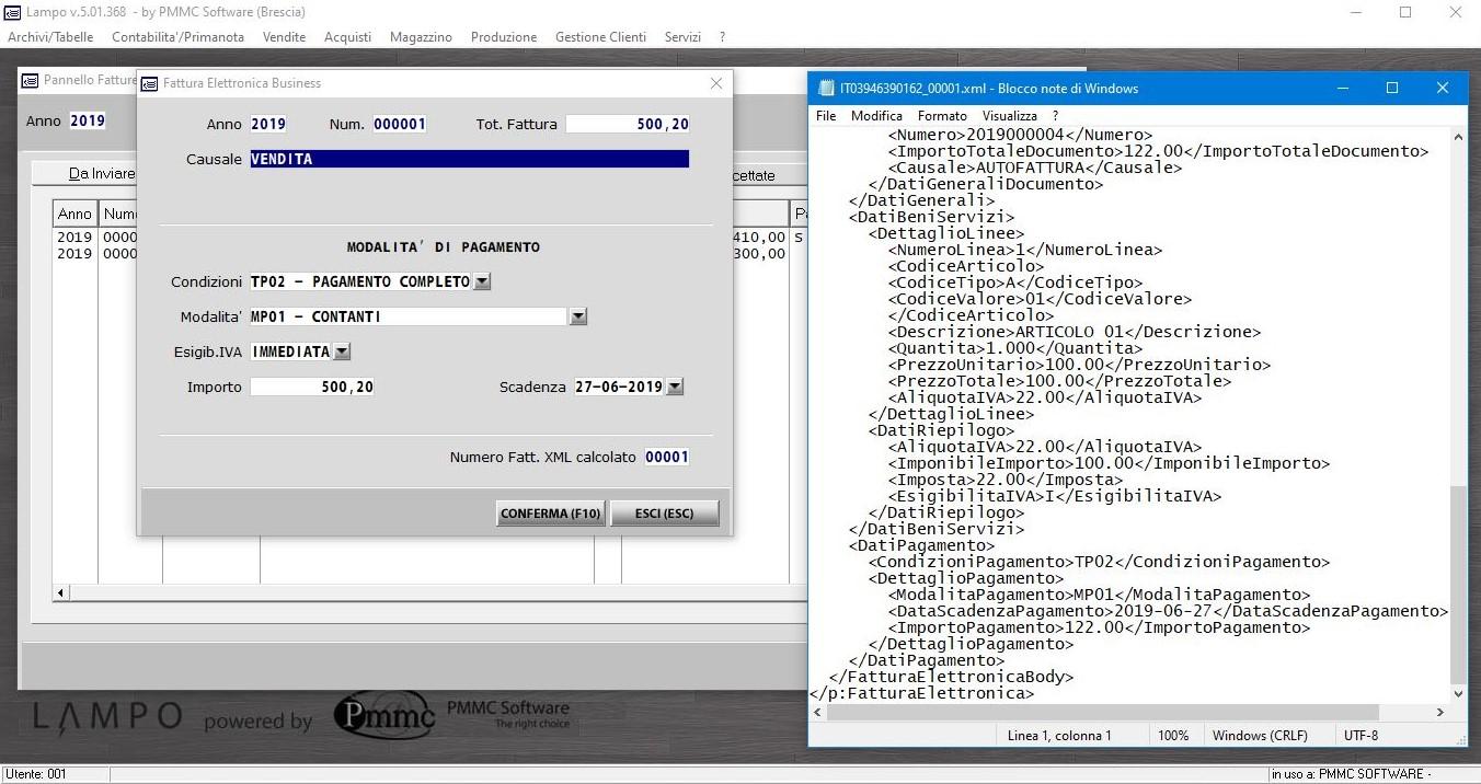 software gestionale LAMPO - esempio