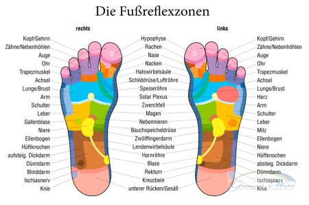 Die Fußreflexzonen reflektieren den Körper