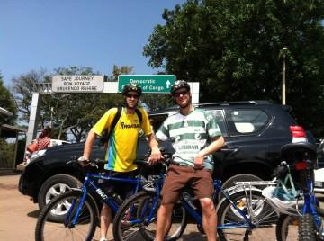 John and a friend biking in Rwanda
