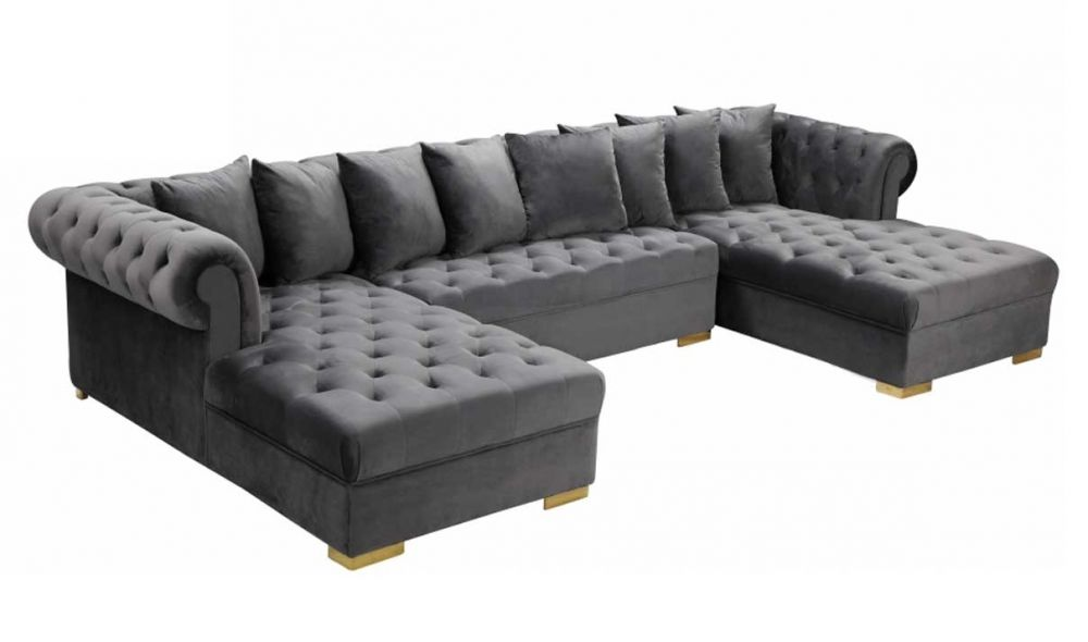 ansonia contemporary 3 piece velvet sectional sofa in grey gold