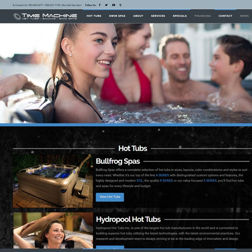 Time Machine Hot Tubs - Longview, Texas web design