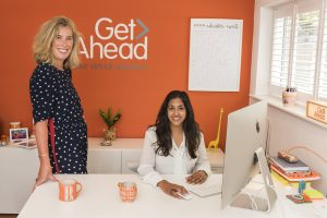 Rebecca Newenham and Emma Barratt in the Get Ahead VA office