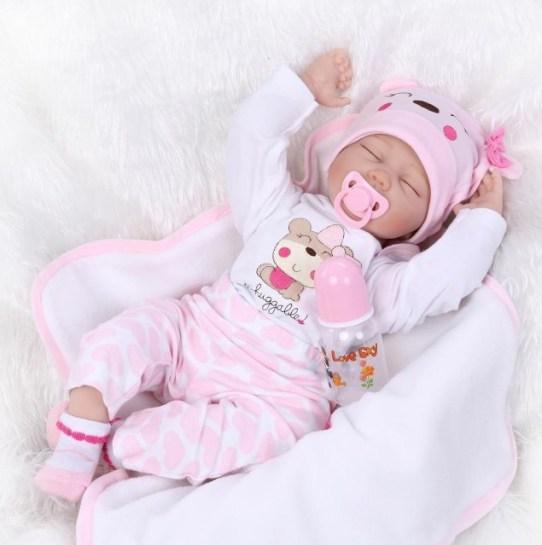 55cm Realistic Sleeping reborn baby doll soft vinyl girl baby full Image