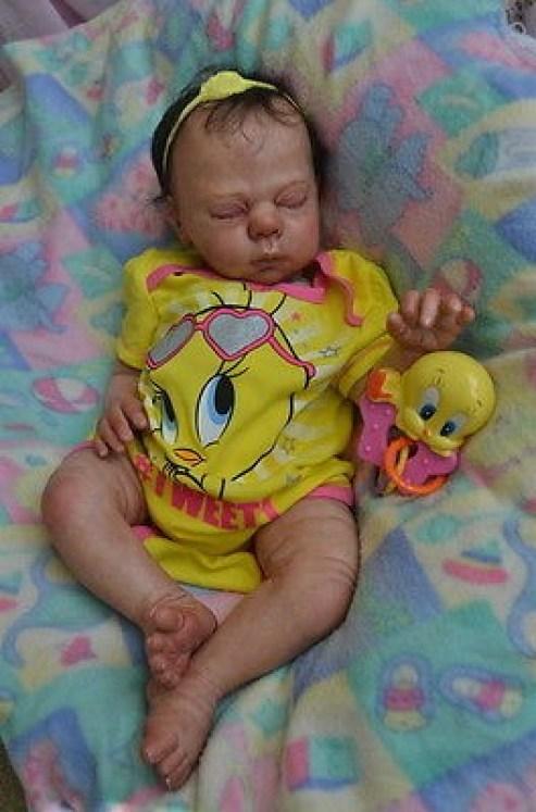 Oak Reborn New born real life baby girl zoe art doll full image