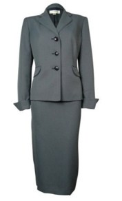 Evan-Picone Navy White Women's Skirt Suit Set Full Image
