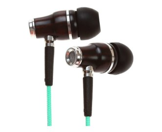 Symphonized NRG Premium Genuine Wood In-ear Noise-isolating Headphones|Earbuds|Earphones with Microphone (Turquoise Blue) Image