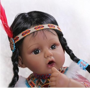 20inch Hot sale Native American Indian Girl Silicone Black Doll Reborn Baby Look Real Kids Playhouse Toys Shooting Model Decorations Educational Props