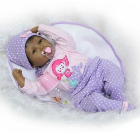 22 Inch Reborns Baby Dolls Girls Black Soft Vinyl Silicone Newborn Doll Lifelike Kids Magnetic Pacifier Toys Smiling Face