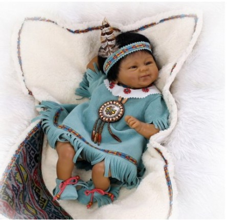 NPK Collection Native American indian doll 18inch collection doll reborn baby doll Cultural and educational collection Smiling black doll, African descent