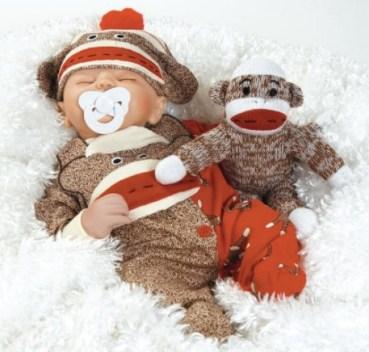 17 Inches Sock Monkey Soft Silicone Vinyl Doll