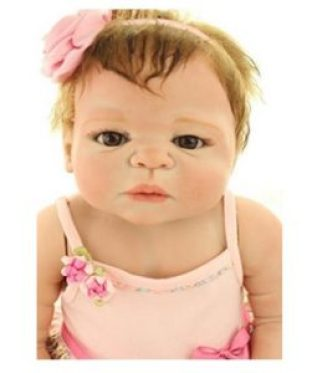 22 Inches Full Body Silicone Vinyl Reborn Baby Toy Girl Doll