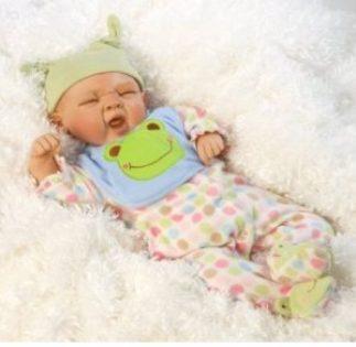 """Reborn Full Body Silicone Vinyl """"Sleepy Frog"""" Baby Boy Doll"""