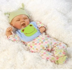"Reborn Full Body Silicone Vinyl ""Sleepy Frog"" Baby Boy Doll"