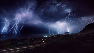 I've been going to Betty's Bay regularly for 28 years, and this was only the second time I've seen such incredible lightning over the ocean. I set up my camera on the porch and started shooting, then layered the images in post-production to show the storm over three hours. – By Fred van Leeuwen, Joburg. Canon 5D Mk II (with shutter release and tripod),Canon 16-35mm f/2.8, ISO 100, f/5.6, 200 sec