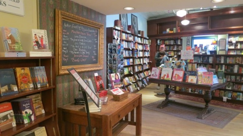 Interior shot of book-stocked indie bookstore in Connecticut