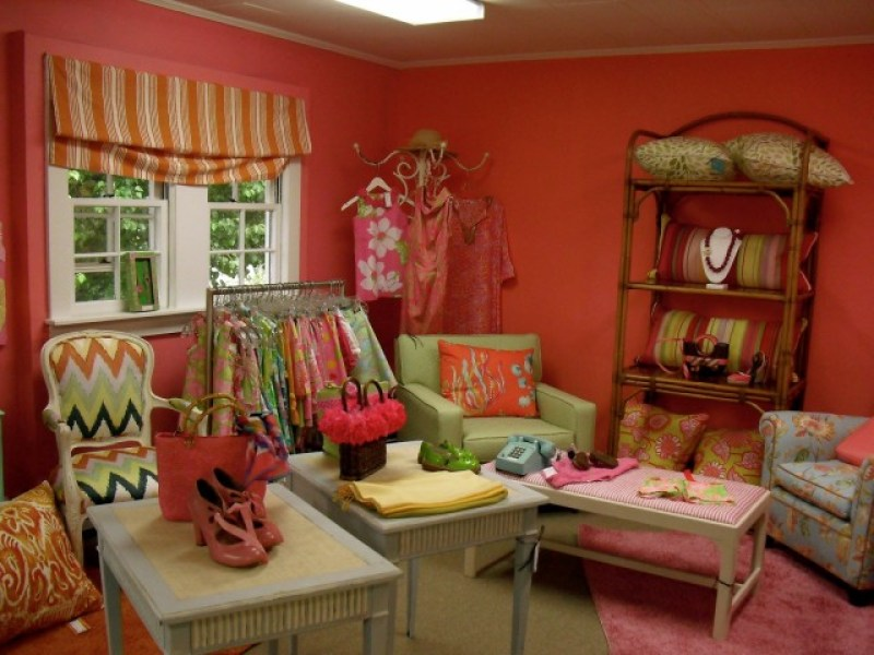 Whole pink room devoted to Lily Pulitzer in Greenwich CT consignment shop