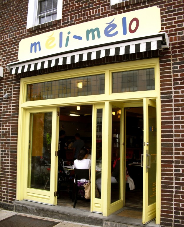 Exterior shot of the circus-colored Meli-Melo-Greenwich-CT