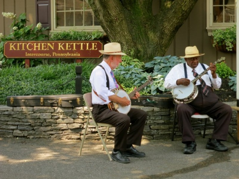 """Banjo Jimmy"" LaRue and Sideman entertain visitors to Kitchen Kettle Village, Lancaster County PA"