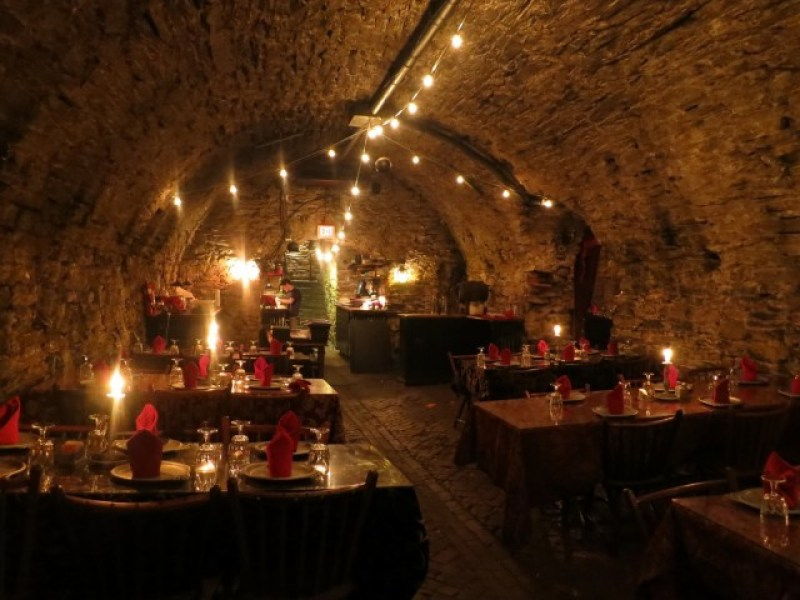 Candlelit fine dining in the cellar of operating brewery in Mt. Joy, PA